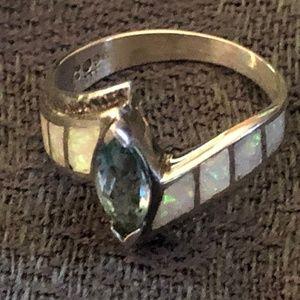Blue Topaz & Opal Ring